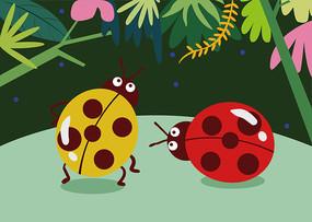 七星瓢虫儿童插画贴纸画拼图包装简约风 AI