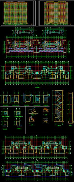 高层连廊住宅CAD施工图设计 dwg