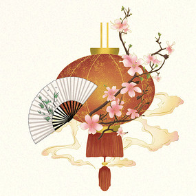 国庆节灯笼桃花扇子