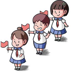 国庆节儿童庆祝拿红旗 PSD