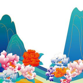 国庆节国潮牡丹山水
