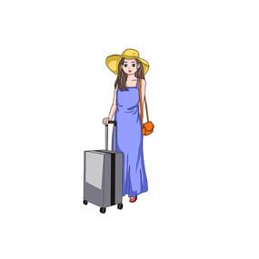 国庆旅游行李箱的女孩