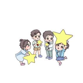 国庆拿五角星的儿童