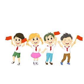 国庆拿着红旗儿童