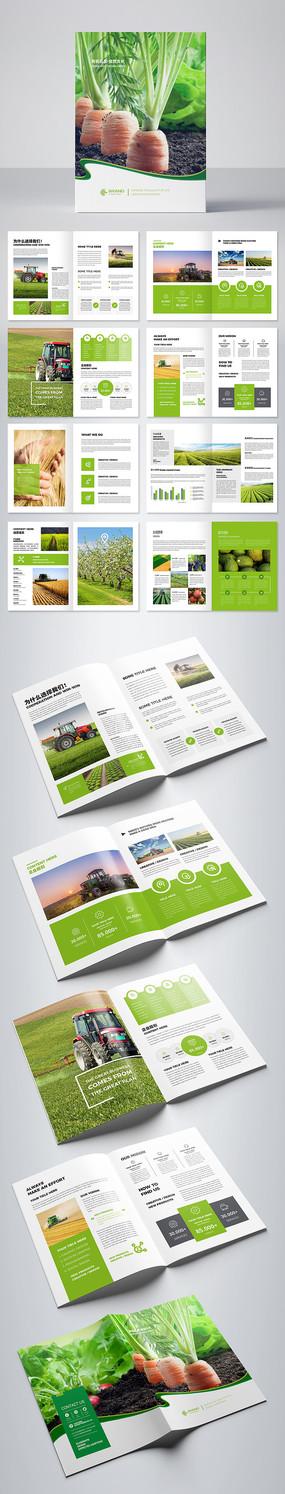 绿色农产品画册设计模板 AI