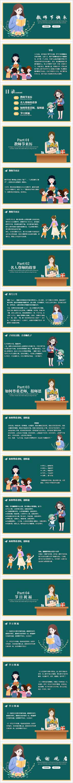 小清新插画风教师节快乐PPT模板 pptx