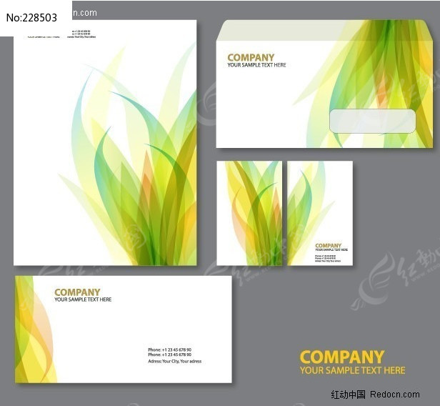 信纸信封名片设计矢量图图片
