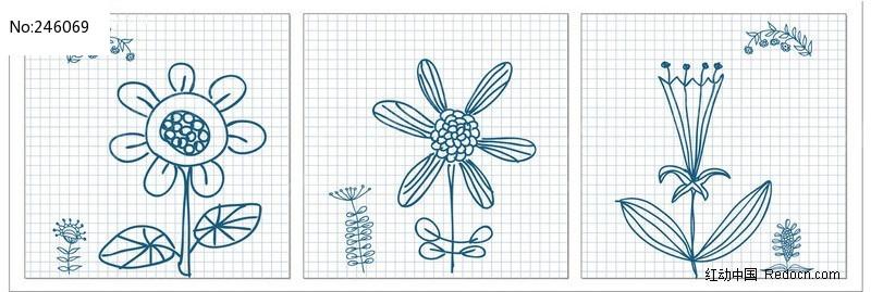 无框画设计矢量图--铅笔画