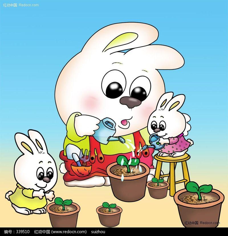 小兔浇水卡通插画模板下载 339510 卡通形象图片素材下载 卡通素材