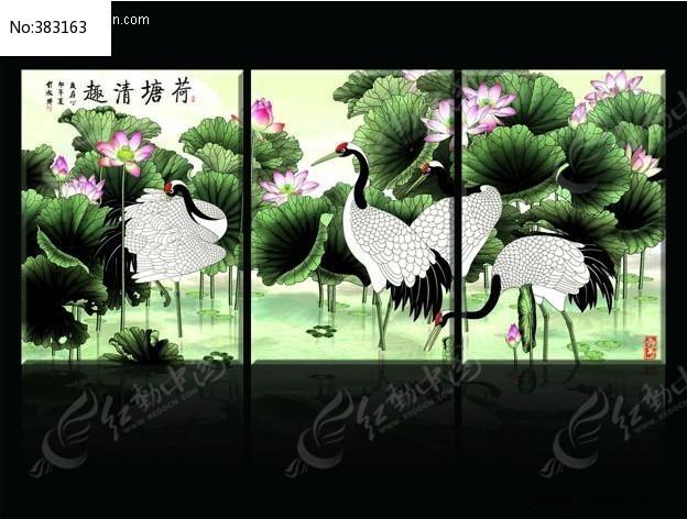 荷塘仙鹤无框画_装饰画/电视背景墙图片素材