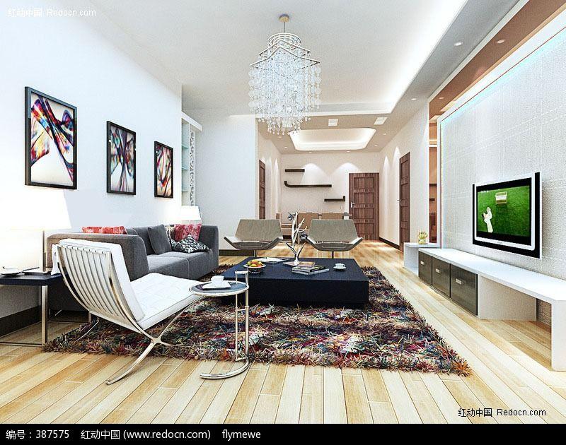 简约现代客厅3d模型图片