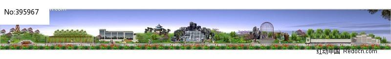公园景观带效果图方案图片