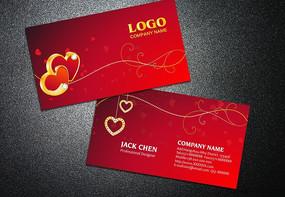 红色婚庆喜庆名片设计