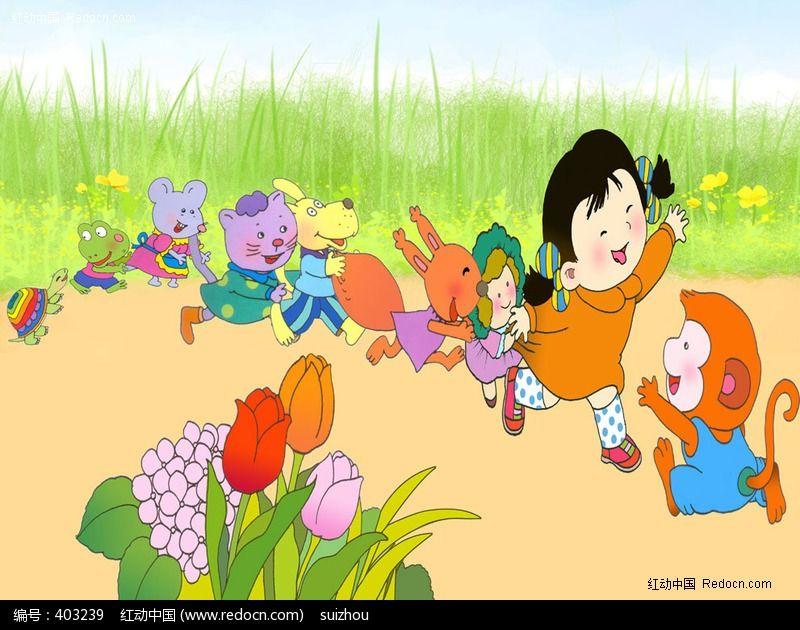 老鹰捉小鸡儿童插画图片
