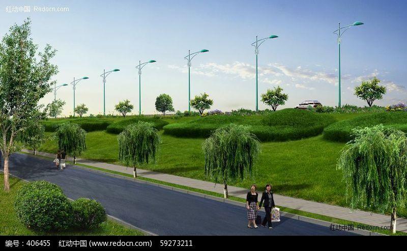 道路绿化psd效果图设计下载