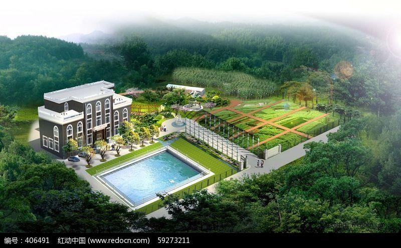 别墅庭院景观绿化鸟瞰图
