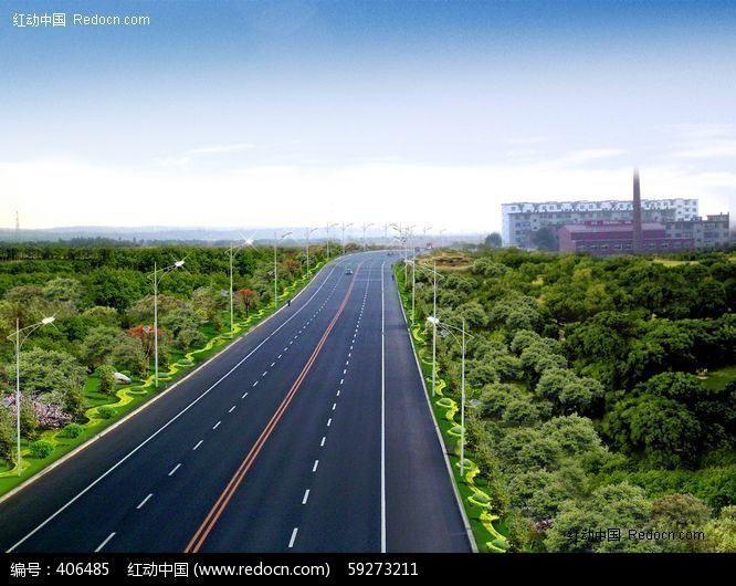 道路绿化效果图图片