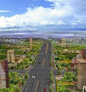 公路绿化鸟瞰图