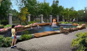 庭院水系景观效果图