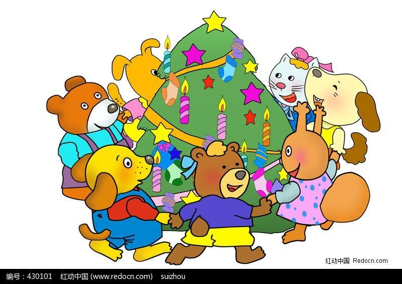 小动物和圣诞树卡通素材