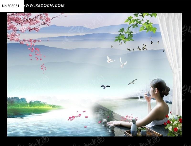 水疗美女海报图片