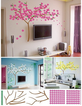 电视背景墙墙贴效果图 梨花树