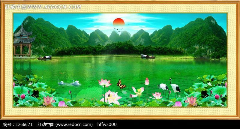 手绘墙画池塘荷花亭子