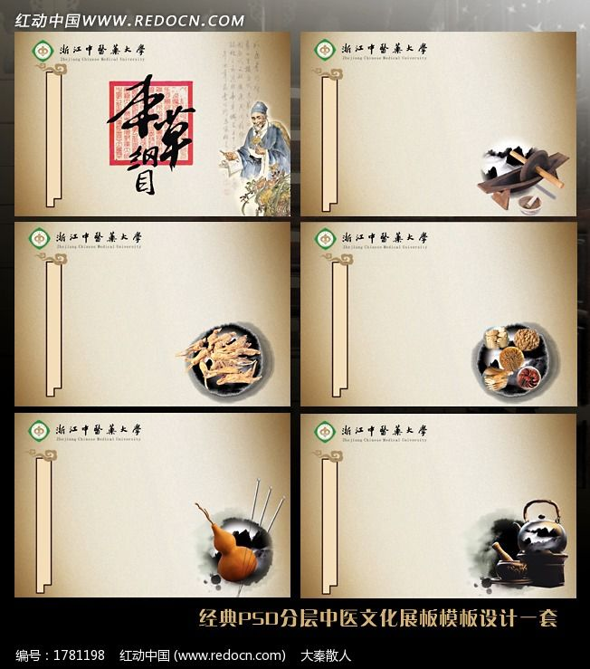 中医文化建设展板模板背景设计一套