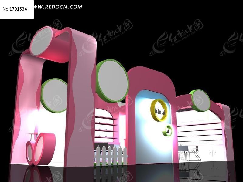 粉色化妆品模型3d展厅v粉色常州新房装修设计费图片