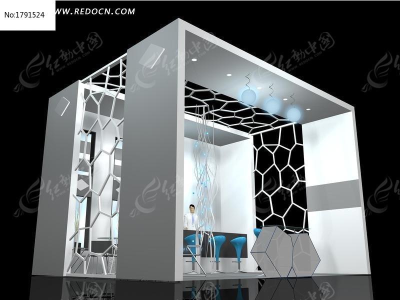 灰色创意网状展厅3d模型设计图片