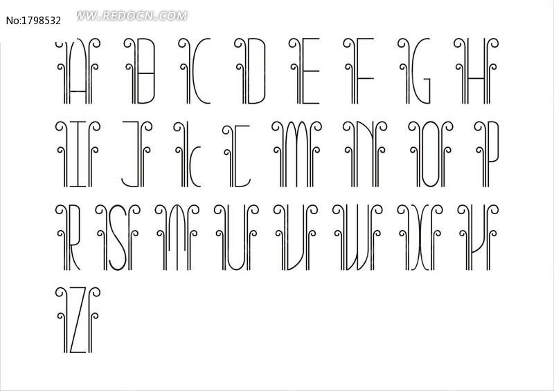 可爱英文字母字体全套设计