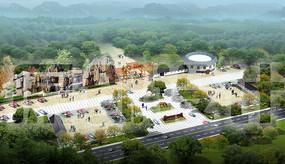 生态农业公园入口假山鸟瞰图方案