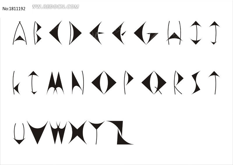 三角形26个英文字母字体设计
