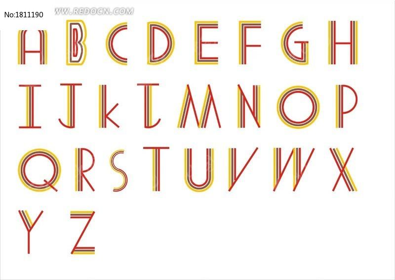 26个英文字母三色条纹字CDR素材下载 编号1811190 红动网