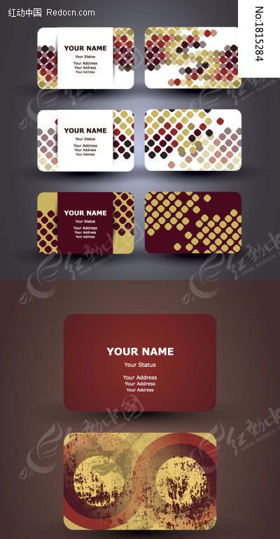 复古点状花纹名片卡片模板矢量图片