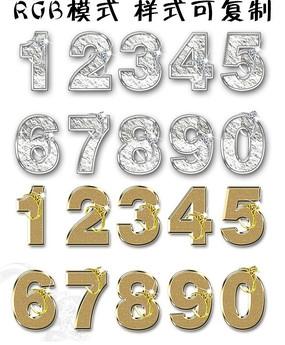 金银质感数字 阿拉伯数字字体设计
