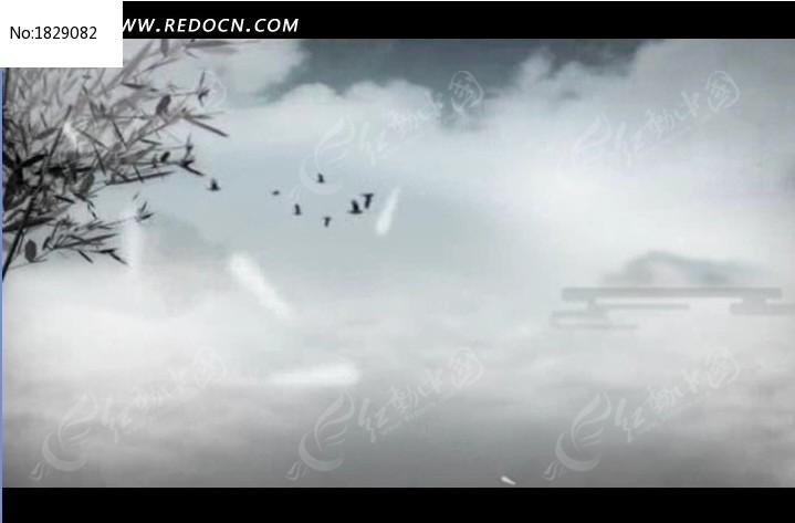 中国风飞鸟素材视频视频背景高清竹子696流云图片