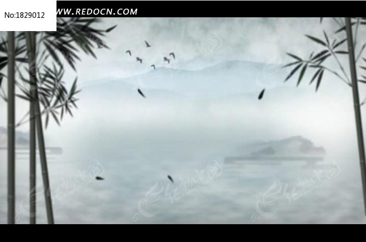 视频_中国风水墨竹叶飞鸟高清视频背景素材