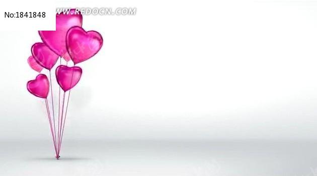 高清心形气球婚庆视频背景素材