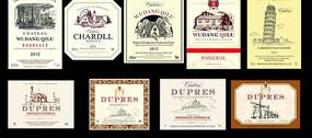 法国酒标素材矢量图