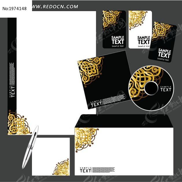 高档金色矢量信封名片光盘设计图片