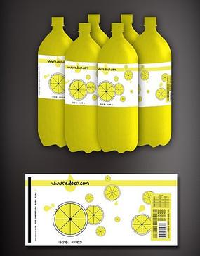 柠檬饮料瓶标签设计包装 PSD