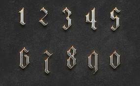 0-9金属字体psd设计