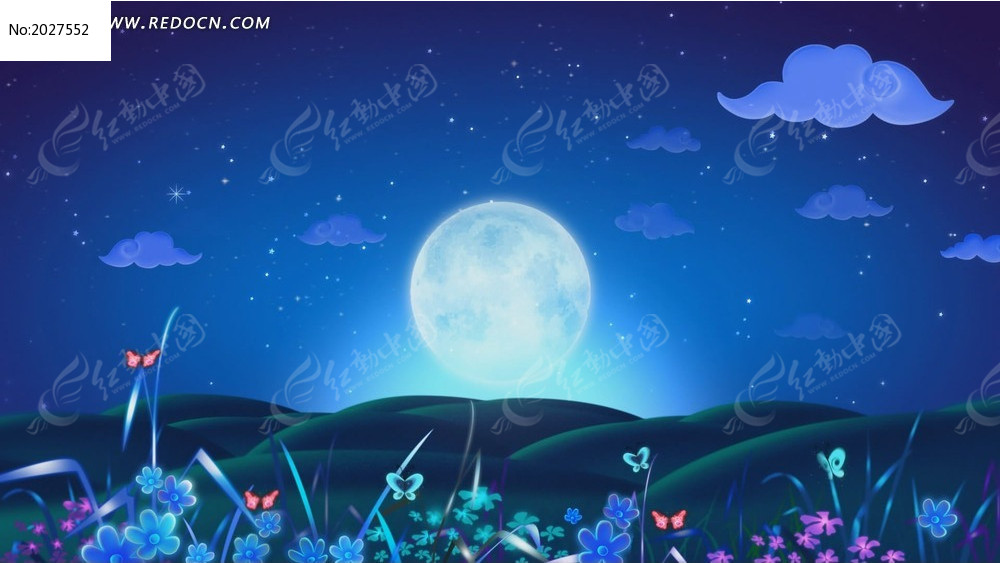视频_唯美夜景月亮月光蝴蝶高清大屏幕背景视频
