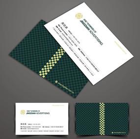 深绿色格子图案名片CDR设计