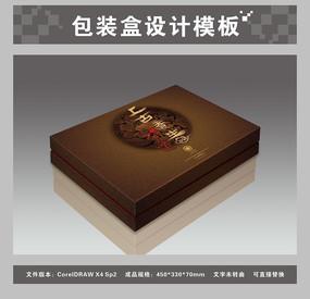褐色传统养生包装盒平面图与效果图
