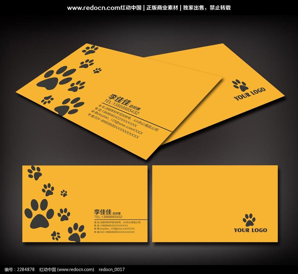 宠物医院名片 爪印 名片设计 名片模板 名片下载 名片图片 名片素材