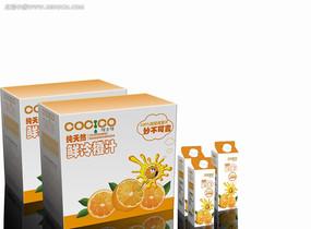 橙汁包装盒素材模板