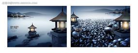 中式水景地产海报