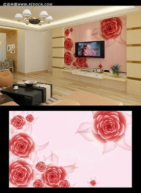 浪漫玫瑰电视背景墙画